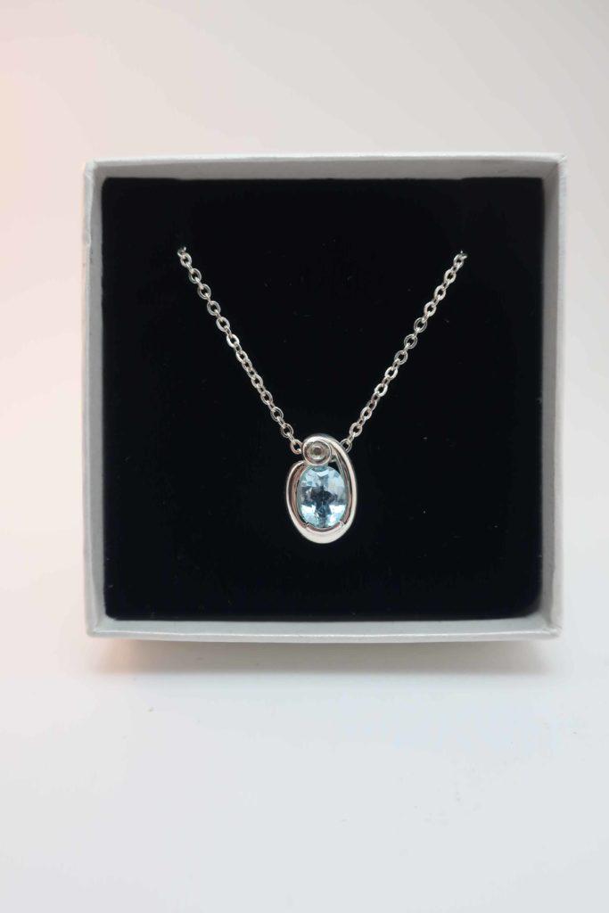 Silver Aquamarine and diamond pendant